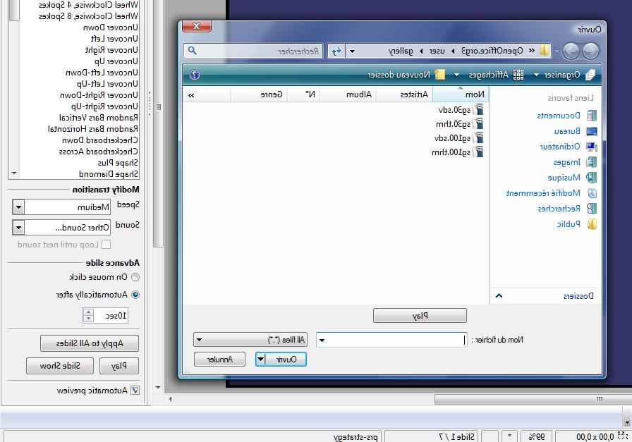 Comment mettre du son dans un diaporama LibreOffice?